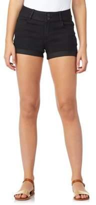 Wallflower Juniors' 2-Button Roll Cuff Denim Shorts