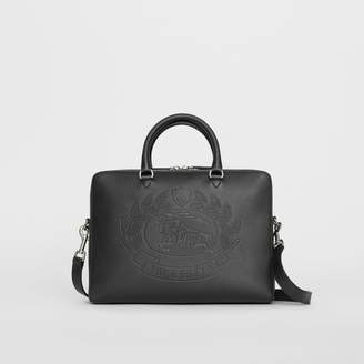 Burberry Embossed Crest Leather Briefcase, Black