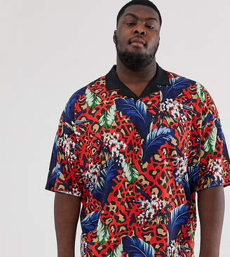 1c439bfc675e Asos Design DESIGN Plus oversized revere polo with floral and leopard print