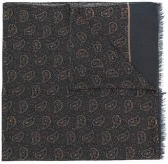 Isaia paisley print frayed scarf
