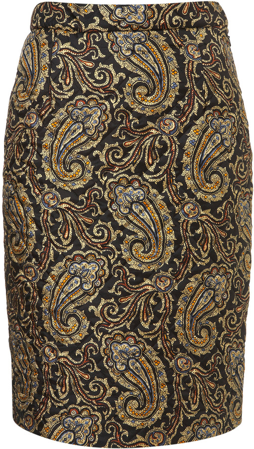 J.W.Anderson **Quilted Silk Paisley Skirt by for Topshop