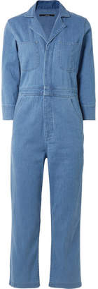 J Brand Cropped Denim Jumpsuit - Mid denim