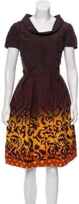 Oscar de la Renta Embroidered Gradient Dress