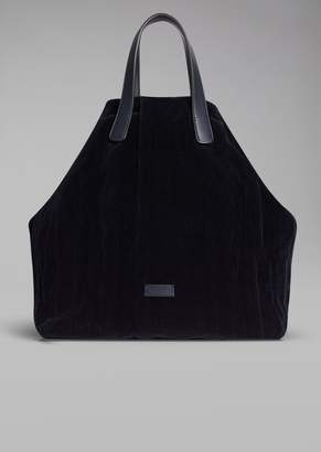 Giorgio Armani Velvet Tote Bag With Wrinkle Effect