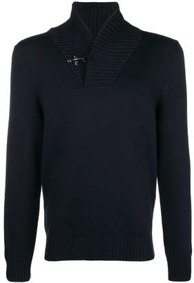 Fay toggle high V-neck sweater