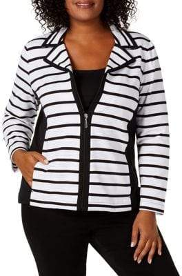 Karen Scott Petite Striped Notched-Collar Jacket