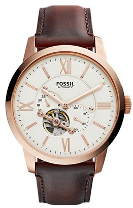 Men's Fossil 'Townsman' Automatic Leather Strap Watch, 44Mm $215 thestylecure.com