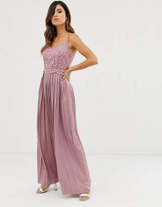 Little Mistress embroidered beadwork satin skirt maxi dress