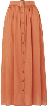 f3edb52b23d248 Lisa Marie Fernandez Belted Cotton-gauze Maxi Skirt - Orange