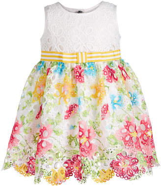 Bonnie Baby Baby Girls Floral-Print Lace Border Dress