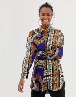 Bershka mix scarf print shirt in multi