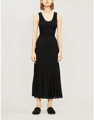 Theory Pleated stretch-knit midi dress