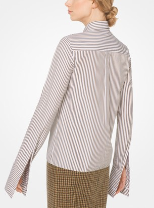 Michael Kors Striped French Cuff Cotton-Poplin Shirt