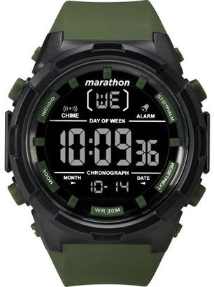 Timex Marathon by Men's Digital 50mm Olive/Black/Negative Watch, Resin Strap