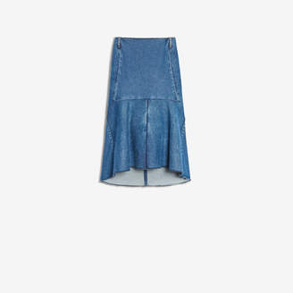 Balenciaga Godet Skirt in medium blue denim