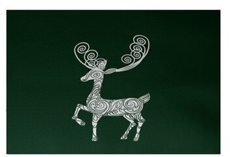 The Holiday Aisle Deer Crossing Decorative Print Flatweave Dark Green/White Area Rug The Holiday Aisle