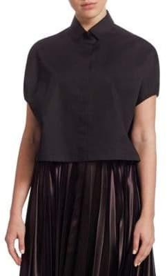 The Row Loha Short Sleeve Crop Cotton Shirt