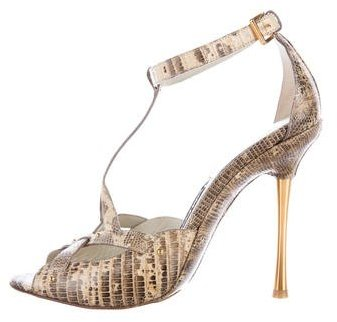 Tom Ford Lizard Ankle-Strap Sandals