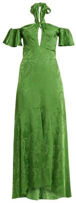 Temperley London Orbit Tie Neck Leaf Jacquard Satin Gown - Womens - Green