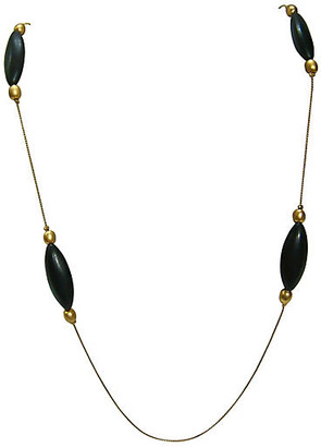One Kings Lane Vintage Givenchy Modernist Black & Gold Necklace - Wisteria Antiques Etc