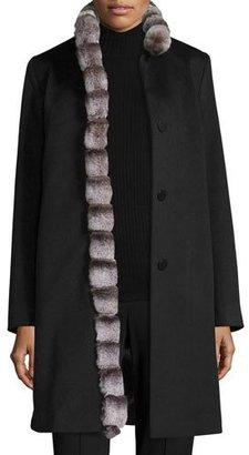 Fleurette Wool Coat w/ Rabbit Fur Trim, Black $1,335 thestylecure.com