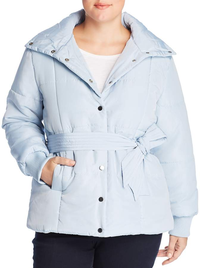 Lost Ink Plus Belted Puffer Coat