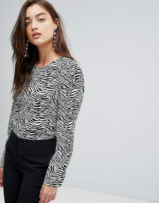 Warehouse Zebra Print Puff Sleeve Blouse