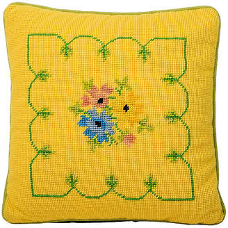 One Kings Lane Vintage Yellow Floral Needlepoint Pillow