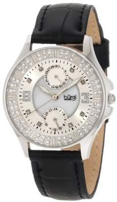 Burgi Women's BU44BK Round Diamond Classic Stainless Steel GMT Date Watch