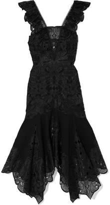 Jonathan Simkhai Asymmetric Embroidered Organza And Poplin Dress - Black