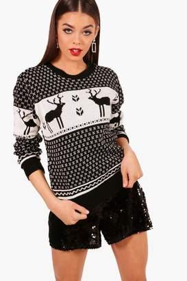 boohoo Snowflake and Reindeer Knitted Jumper