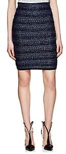 Balmain Women's Striped Tweed Miniskirt - Blue