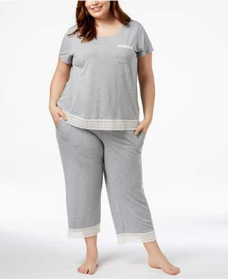 Alfani Plus Size Lace-Trim Pajama Set, Created for Macy's