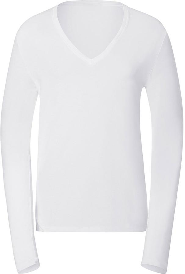 Hugo White Long Sleeve V-Neck Dredino T-Shirt