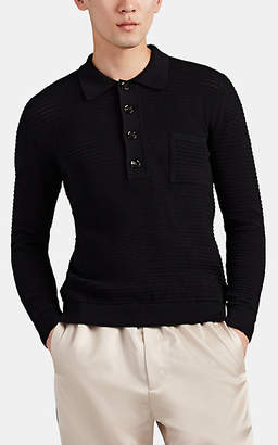 Cmmn Swdn Men's Curtis Cotton Long-Sleeve Polo Shirt - Black