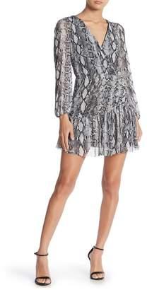 Vanity Room Long Sleeve Snake Printed Shirred Mini Dress