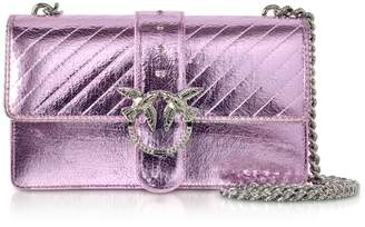 Pinko Light Pink Love Metallic Quilted Shoulder Bag