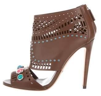 Gucci Lika Peep-Toe Ankle Booties Brown Lika Peep-Toe Ankle Booties