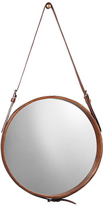 """Jamie Young Round 26"""" Leather Wall Mirror - Natural"""
