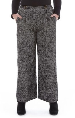Plus Size Women's Elvi Tweed Wide Leg Trousers $108 thestylecure.com