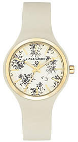 Vince Camuto Women's Floral Ivory Silicone Strap Watch