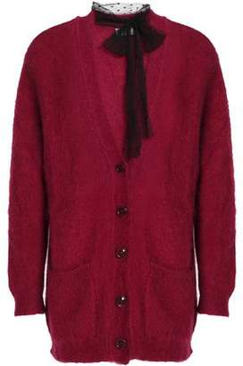 RED Valentino Point D'esprit-Trimmed Mohair-Blend Cardigan