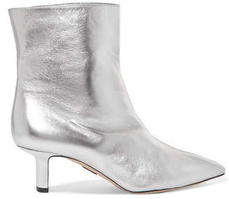 Paul Andrew Mangold Metallic Leather Ankle Boots - Silver