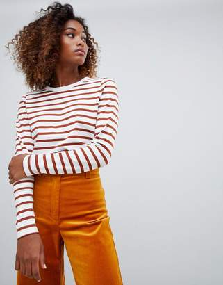 Weekday stripes long sleeve t-shirt in rust and white