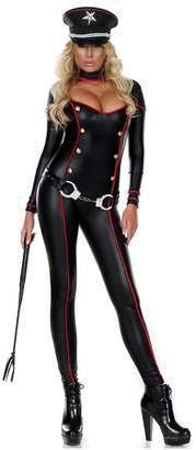Forplay Women's Cutout Soldier Catsuit with Gold Buttons and Metallic Contrast