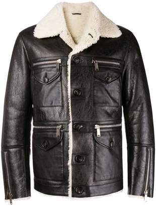 DSQUARED2 lambs fur trimmed jacket