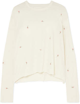 The Great Embroidered Cotton-jersey Sweatshirt - White