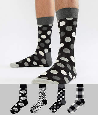 Happy Socks Socks 4 Pack Gift Set in Black & White