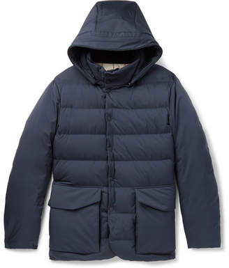 Loro Piana Clearwater Quilted Storm System Shell Hooded Down Jacket - Navy