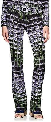 Prada Women's Daffodil-Print Crepe Belted Pants